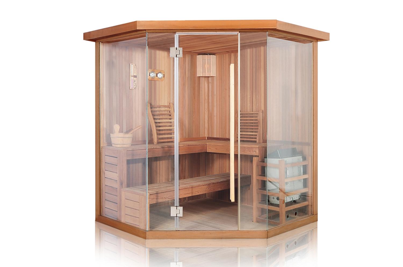 sauna room with full front glass door