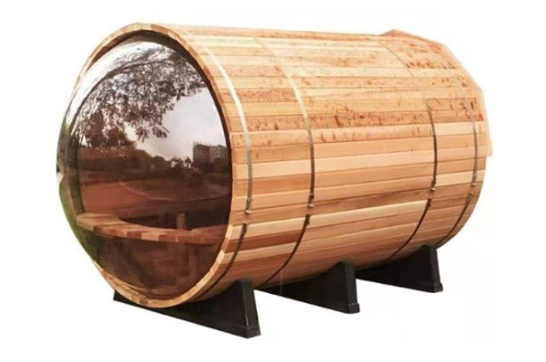 panorama view barrel sauna