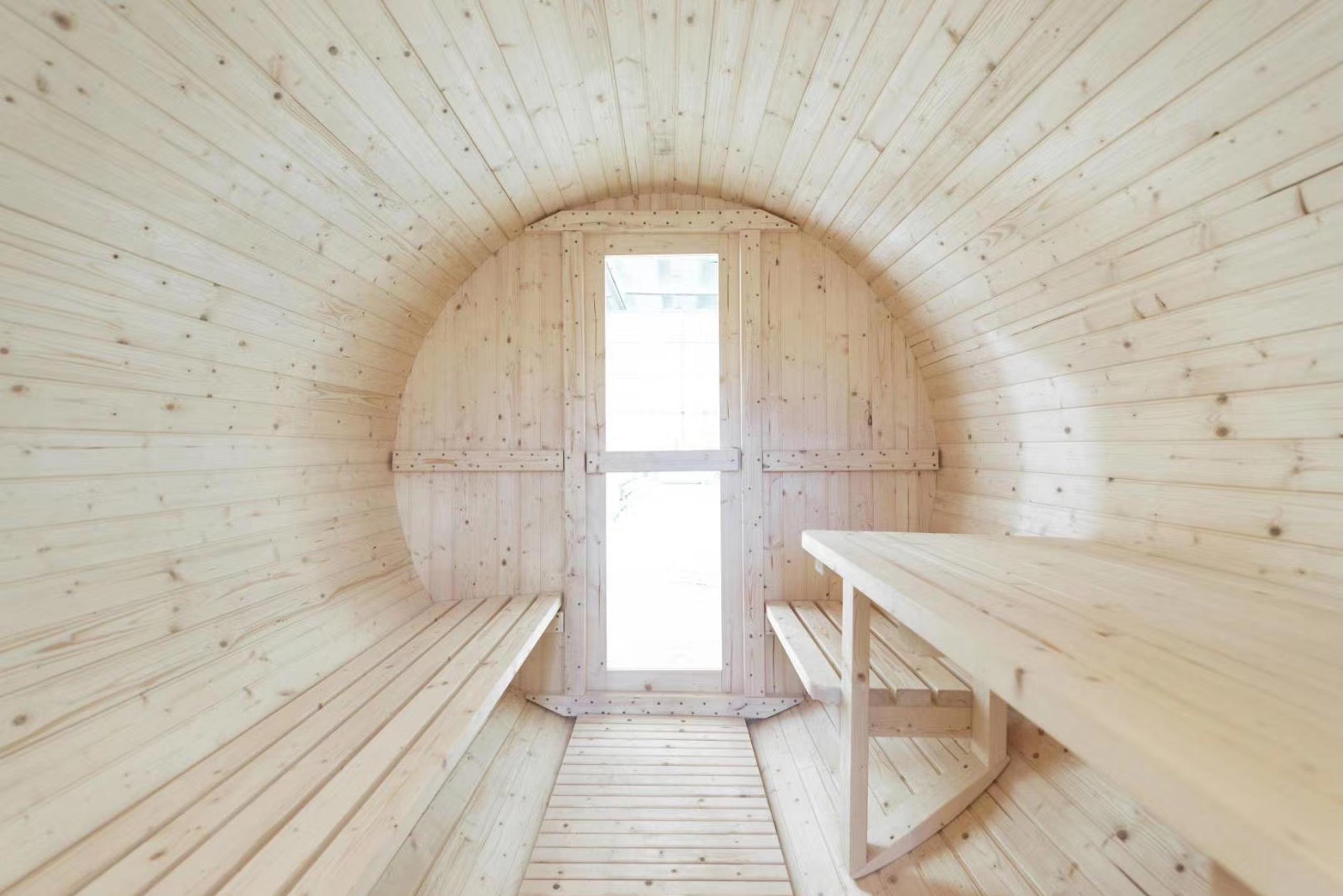 barrel sauna inside