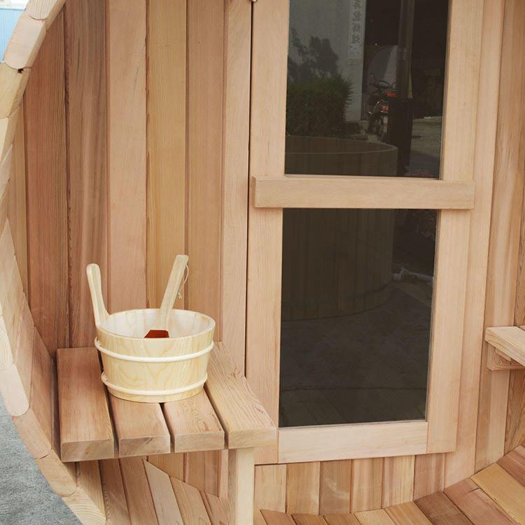 6 Person Western Red Cedar Barrel Sauna with Porch_4