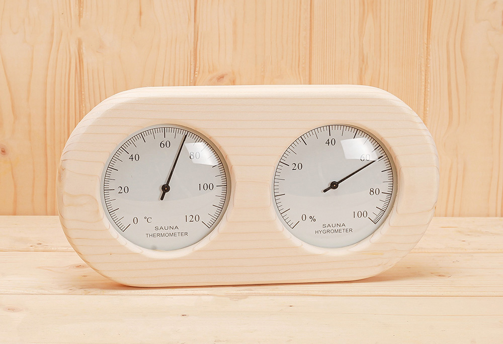 Wooden thermometer and hygrometer W-T072
