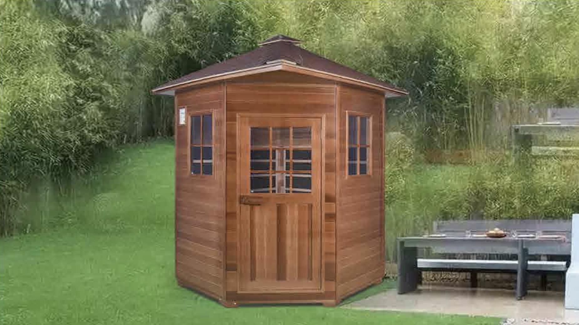 red cedar far infrared outdoor sauna room in garden