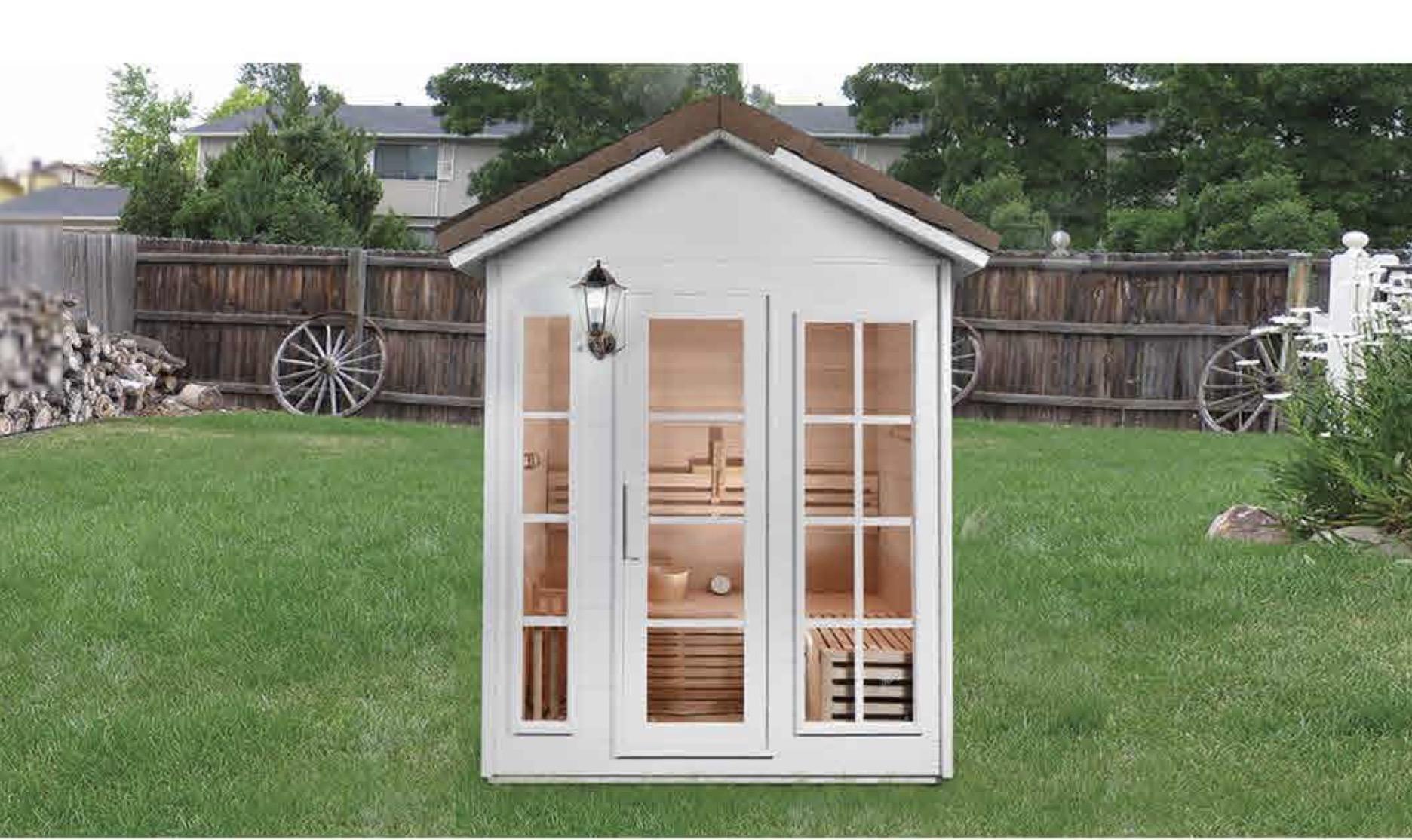 outdoor fitness far infrared sauna room in garden