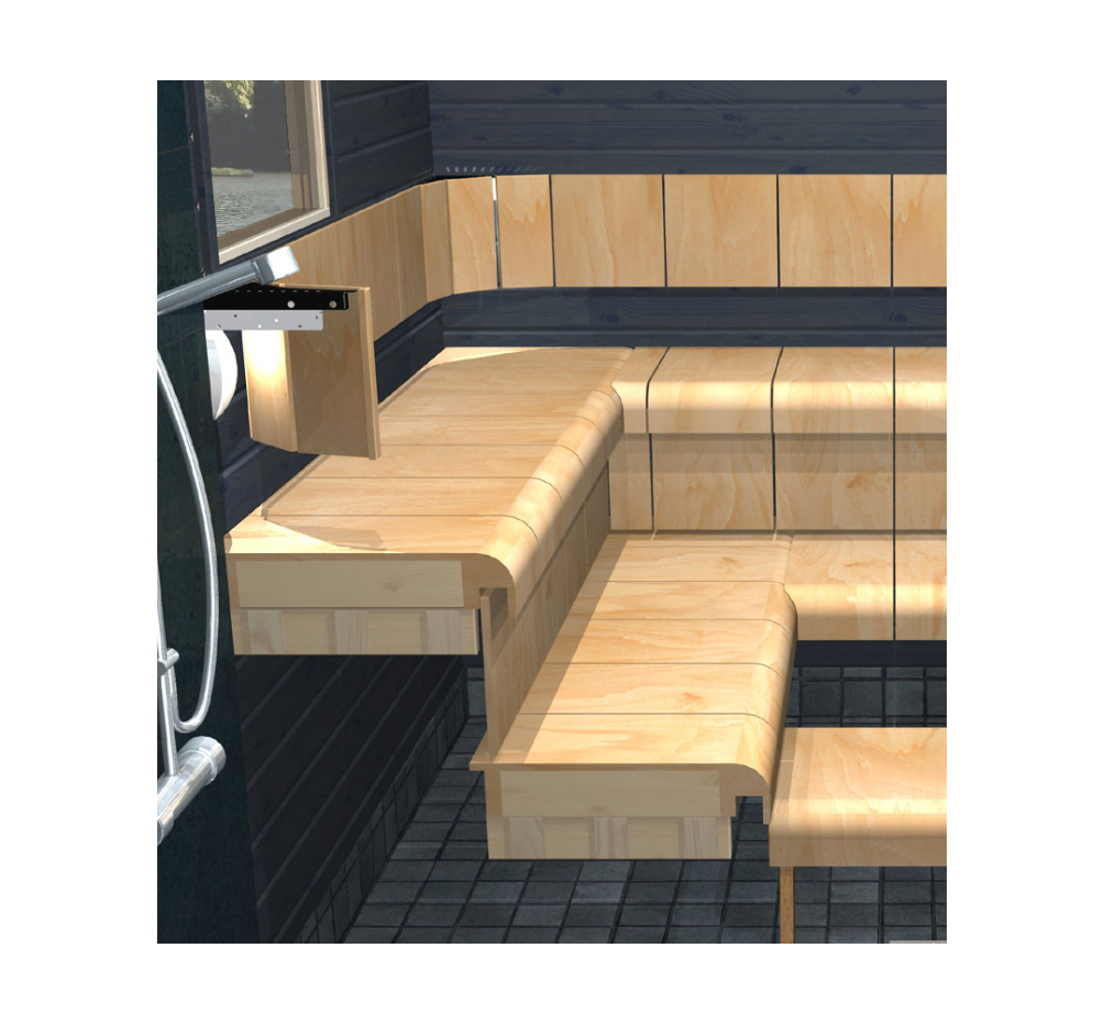 sauna curved bench