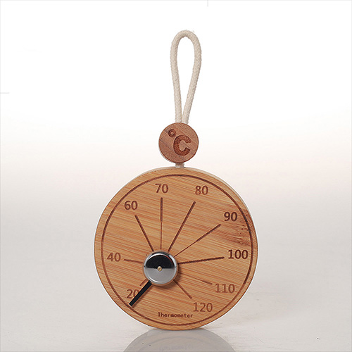 Wooden thermometer and hygrometer W-T073