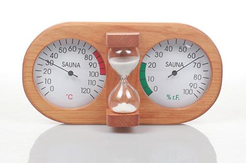 sauna hygro:thermometer with sauna hourglass